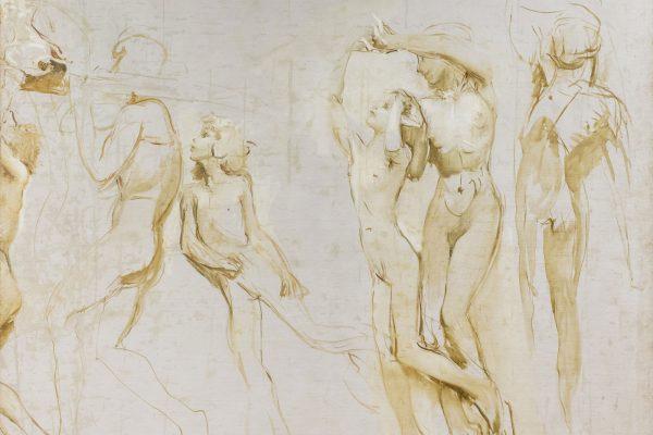 """Lotto 143: GIULIO ARISTIDE SARTORIO (1860 – 1932) – """"Grande studio ad olio per il ciclo decorativo della Biennale di Venezia del 1907"""", 1906 circa (dettaglio)"""