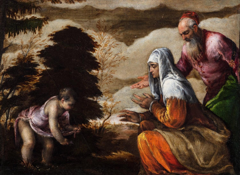"""Lotto 320: JACOPO BASSANO (1515 - 1592) - """"San Giovannino offre fiorellini alla madre Santa Elisabetta accompagnata da San Zaccaria"""""""