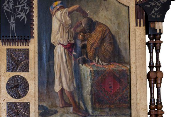 Lotto 145: CARLO BUGATTI - Cornice con dipinto orientalista raffigurante la bottega del barbiere (dettaglio)