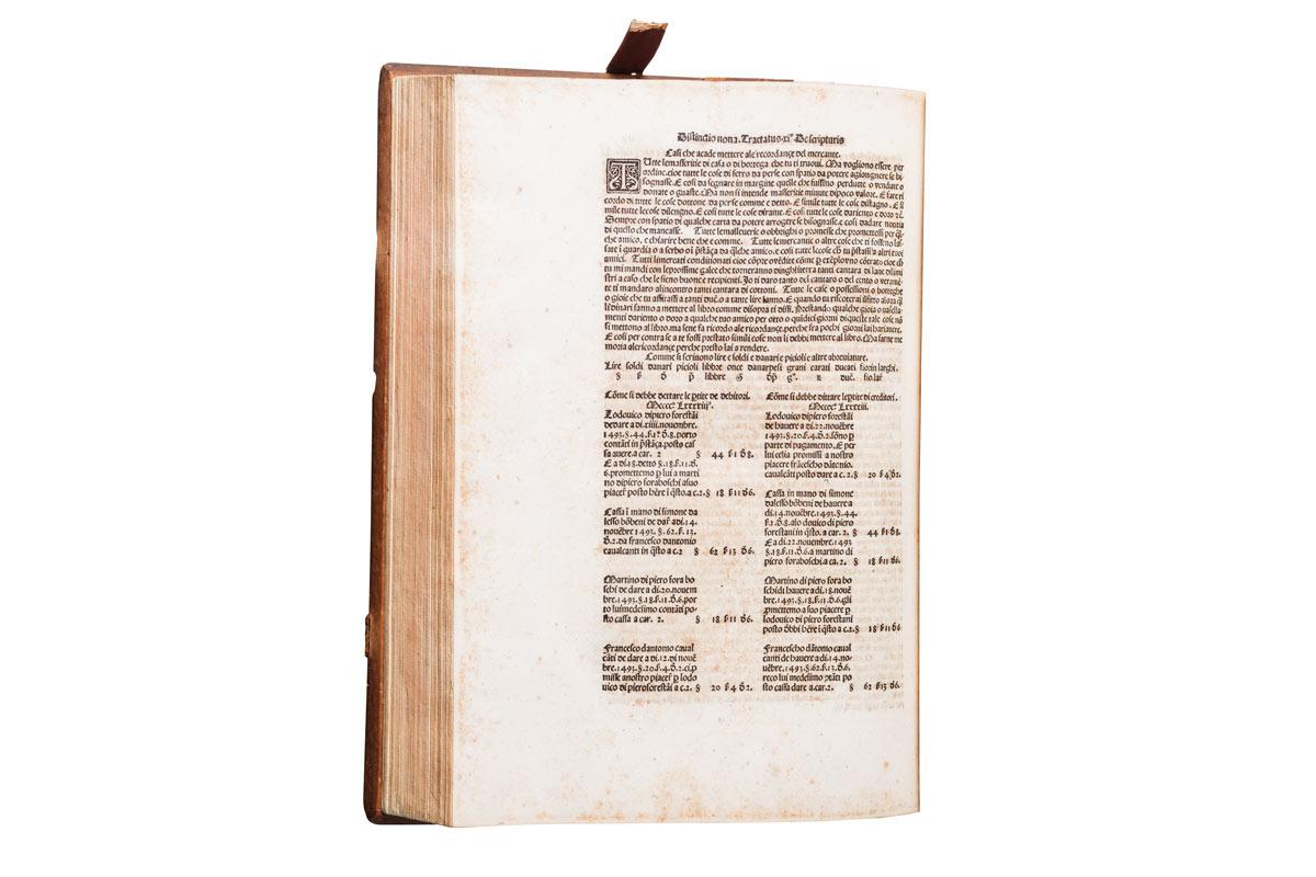 Lotto 507: Luca Pacioli - Summa de Arithmetica Geometria Proportioni & Proportionalita, 1494 (pagina relativa alla partita doppia)