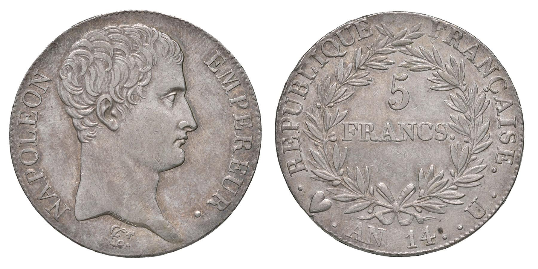 Lotto 115: Napoleone I (1804-1814). 5 franchi anno 14. Pagani 26. Montenegro 31. AG. Lievi segnetti. Rarissima e in conservazione eccezionale per questo tipo di moneta. Deliziosa patina. SPL / Stima € 2.500