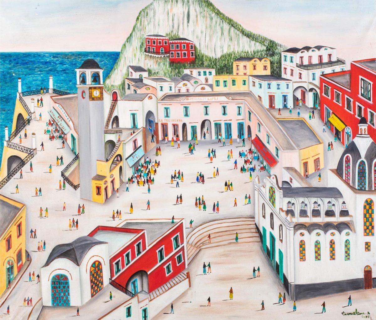 Carmelina di Capri, Municipio di Capri, olio su tela cm 80 x 100   Opera in asta a Roma il prossimo 27 aprile