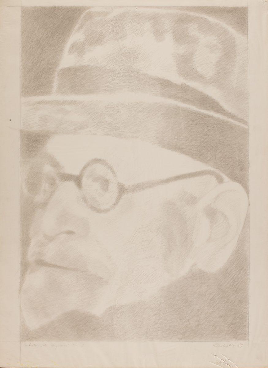 Marilu Eustachio, Ritratto di Sigmund Freud, 1989 - grafite su carta velina applicata su cartoncino cm 70 x 50   Opera in asta a Roma il prossimo 27 aprile