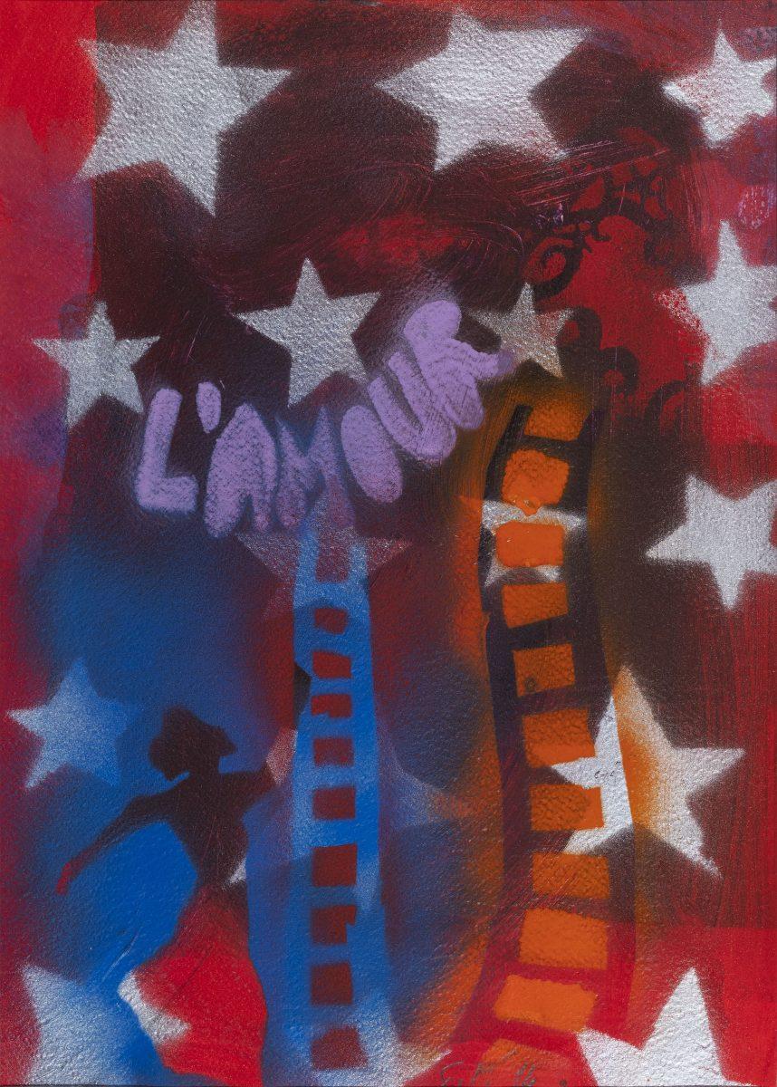 Giosetta Fioroni, L'amour, 2014, tecnica mista su carta cm 49 x 36   Opera in asta a Roma il prossimo 27 aprile