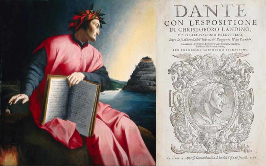 """A sinistra ritratto di Bronzino, 1532-'33 - A destra edizione detta del """"nasone"""" (1564)"""