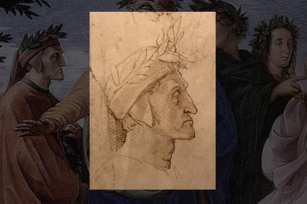 Ritratto di Dante, penna e inchiostro su carta, The Royal Collection, London (dettaglio)