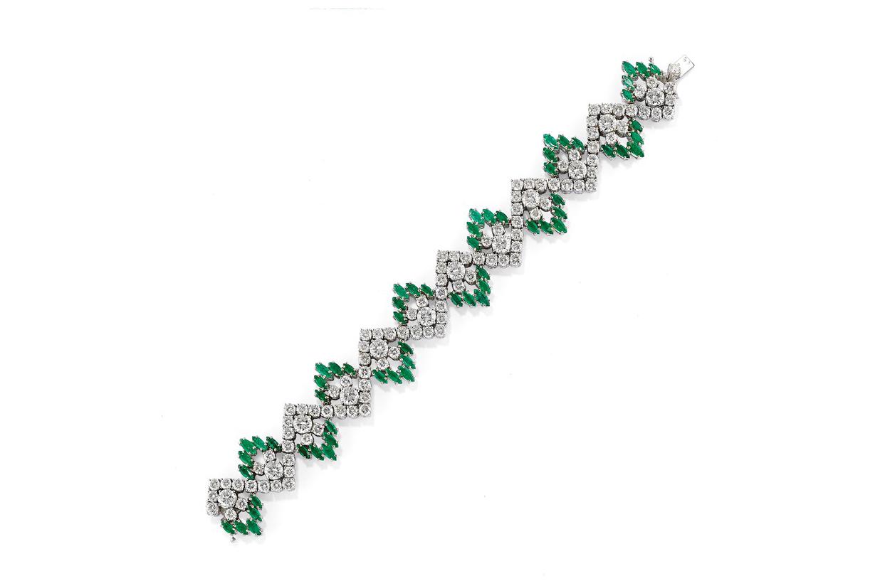 Bracciale In Diamanti E Smeraldi, 1970 Circa – Venduto € 16.379,00