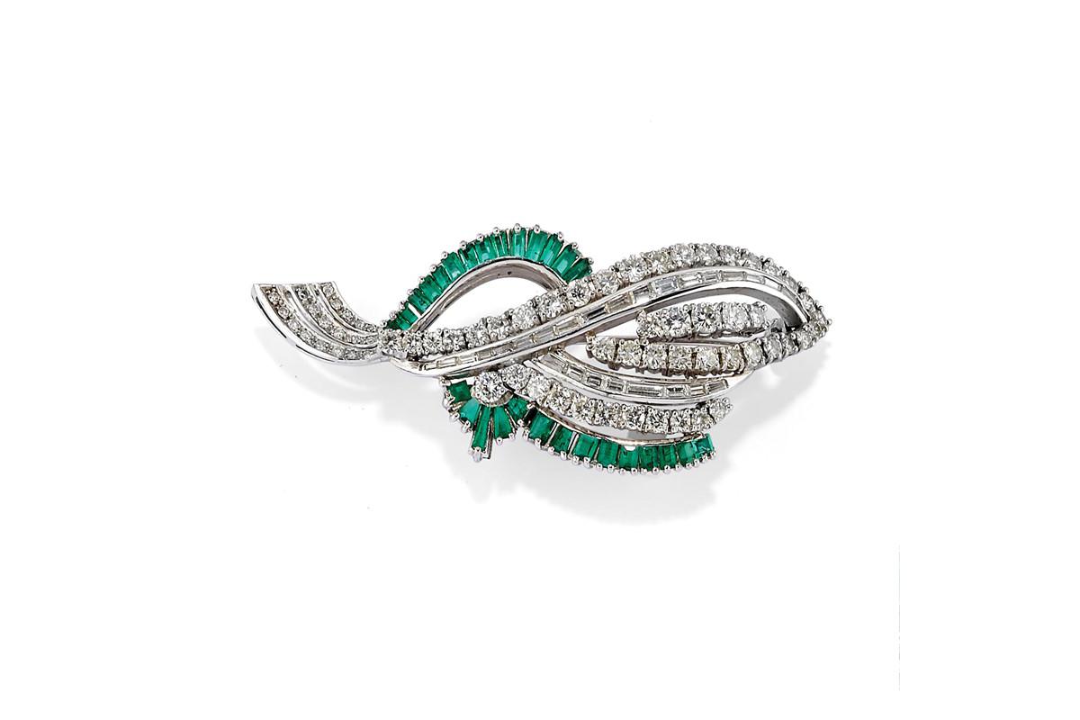 Spilla E Orecchini Con Diamanti E Smeraldi (illustrato In Parte) – Venduti € 3.839,00