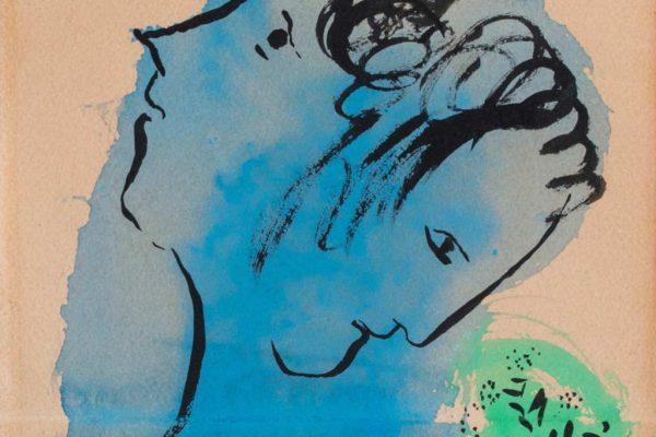 Marc Chagall, Doppio Profilo su Fondo blu e verde (dettaglio), 1950  | Opera in asta il prossimo 28 maggio