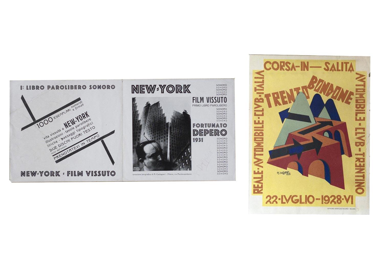 DEPERO - New-York. Film vissuto. Primo libro parolibero sonoro (Rovereto), edizione a cura dell'autore,... (a sinistra) / Corsa in salita - Trento Bondone - 22 luglio 1928s.l. (a destra)