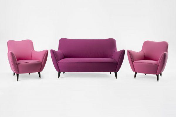Lotto 41, GUGLIELMO VERONESI, Salotto composto da divano e due poltrone, 1950 ca. - Base d'asta € 3.000